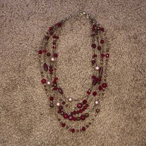 Red and gold adjustable necklace